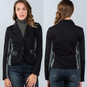 🖤Black & Gray Colorblock Blazer Jewel Pockets
